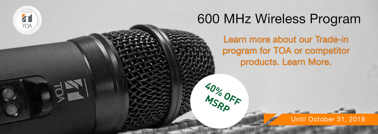 Wireless systems, TOA, Canada, Microphone, System, Trade-in, 600 MHz, frequency